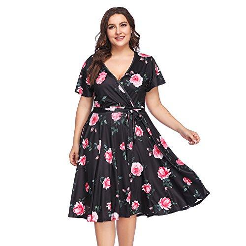 Lover-Beauty Sommerkleid Damen große Größen Knielang elegant V Ausschnitt Blumen Kleid Damen Sommer übergröße Casual Strandkleid