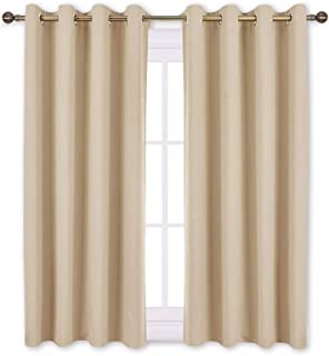 NICETOWN Bedroom Curtains Room Darkening Drapes - Biscotti Beige Curtains/Panels for Bedroom, Grommet Top 2-Pack, 52 x 45 inches Long, Thermal Insulated, Privacy Assured