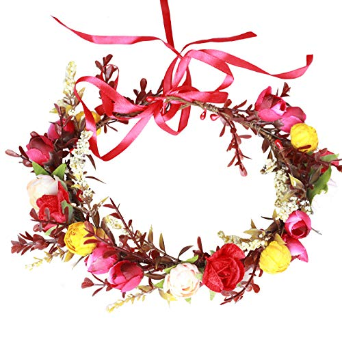 Rose Flower Crown Flower Garland Headband Hair Wreath Floral Headpiece Halo Boho with Ribbon Wedding Party Photos Red by Vivivalue