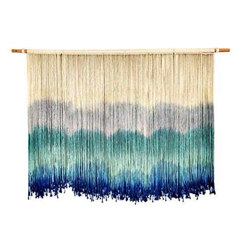 Blue Halo Dyeing Yarn Macrame Wall Hanging with Handmade Cotton Rope Tassels Tapestry Bohemian Woven Wall Art Decor for Wedding Hanging Backdrop Pendant, Geometric Living Room Decoration,100x60cm