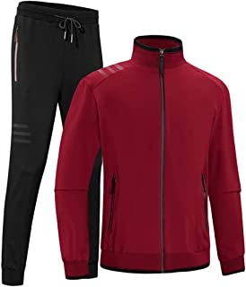 Men's Casual 2 Pieces Contrast Cord Full Zip Sports Sets Jacket & Pants Active Fitness Tracksuit Set