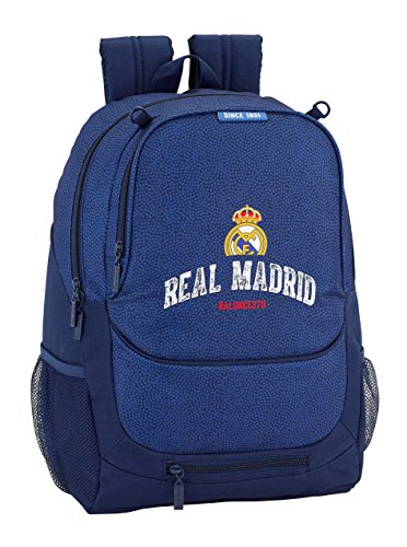 Safta Mochila Escolar Real Madrid Basket Oficial 320x160x440mm