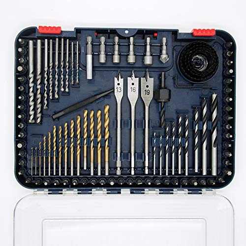 CHEW STEEL TOOLS Drill Bit Set, 100-Piece Drilling and Driving Accessories, Screw Drill bits, Titanium Coated HSS Bits for Drilling Metal, Wood, Masonry and Plastic (Metric)