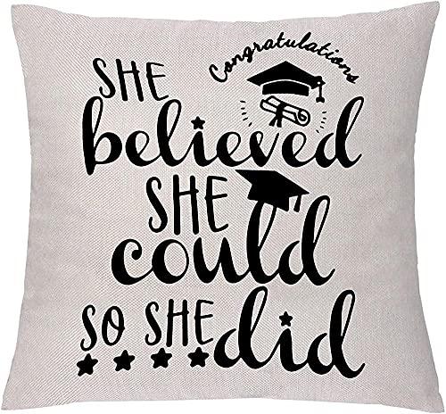 ADIS Funda de cojín inspiradora para graduación, She Believed She Could so She Did Encouraging Pillow Cover para Best Friend Families