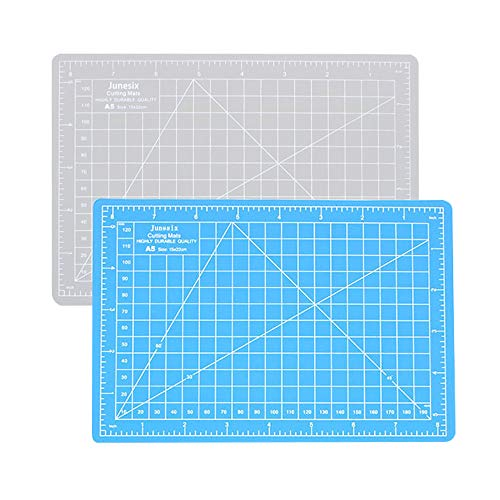2 PCS A5 Double Self Healing Rotary Cutting Mat, Cutting Board with Grid and Non Slip Surface, for Sewing, Crafts, DIY, Scrapbooking and Arts Projects (Blue, Gray)