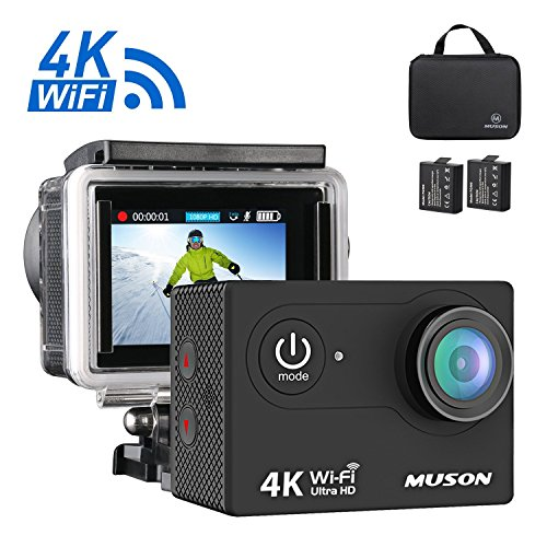 Muson 4K WiFi Action Camera 2.0¡± Screen 12MP F/2.4 170 Degree Wide Angle 30M Waterproof Sports DV with 2.4G Remote Control and 19 Accessories Kits (Black)