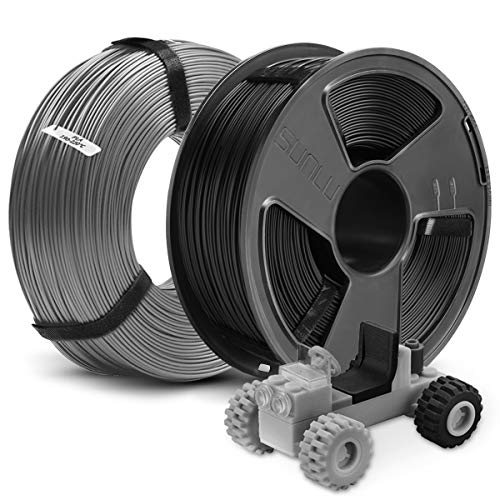 3D Printer PLA Filament 1.75, SUNLU 2 Colors PLA 1.75mm of MasterSpool, Fit FDM 3D Printer, 1KG Spool, Pack of 2, Dimensional Accuracy +/- 0.02 mm, PLA Black+Grey