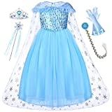 Come with tiara, wand, wig, gloves accessories, make your little girl to a dreamy pretty princess elsa herself. Gorgeous veil see-through neckline cape and many hand-stitched sequins on the chest. detachable hot silver snowflake organza cloak, four-l...