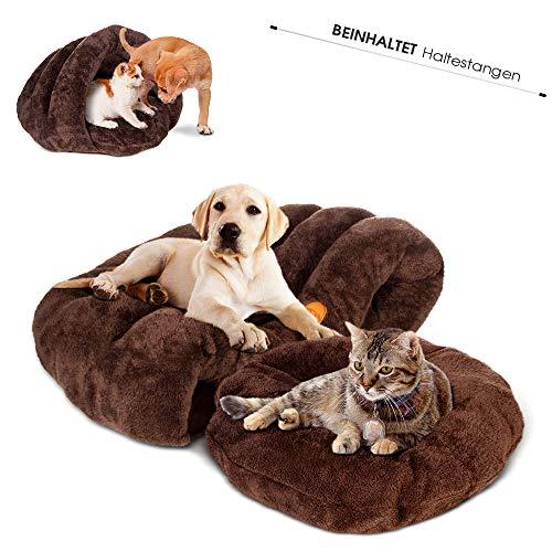Masthome Hunde- und Katzenbett mit Wendekissen Warm,Super Weich und Bequem aus Waschbar und rutschfest Baumwolle,Katzen-Hundehöhle geeignet für Vierjahreszeiten