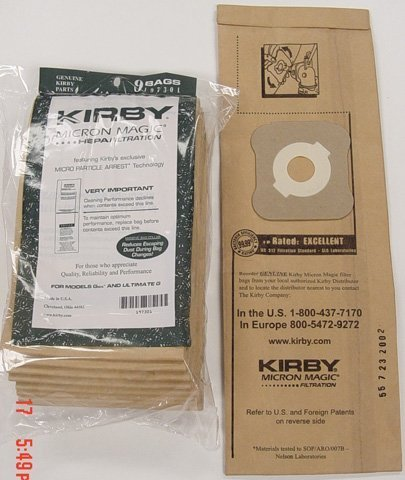 Kirby Generation 6 Ultimate G Micron Magic Hepa Filtration Vacuum Cleaner Bags, Kirby Part Number 197301, 9 bags in Pack by Kirby