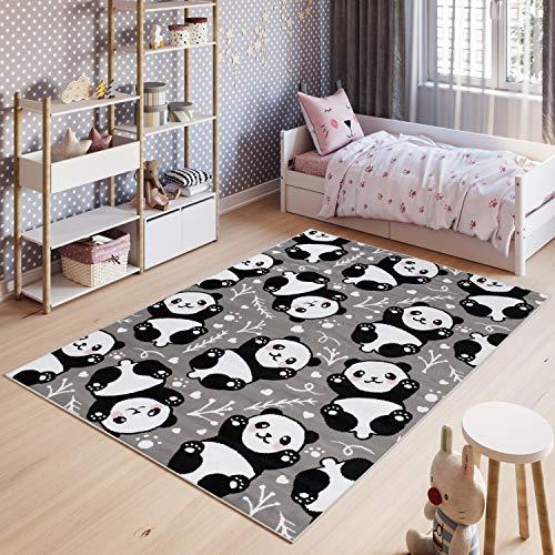 Tapiso Pinky Teppich Kurzflor Grau Schwarz Weiß Modern Panda Bär Teddy Design Kinderzimmer Kinderteppich Spielteppich ÖKOTEX 80 x 150 cm