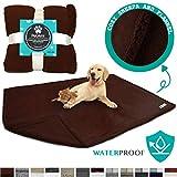 PetAmi Waterproof Dog Blanket for Bed, Couch, Sofa   Waterproof Dog Bed Cover for Large Dogs, Puppies   Sherpa Fleece Pet Blanket Furniture Protector   Reversible Microfiber   80 x 55 (Brown/Brown)