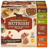 Rachael Ray Nutrish Natural Premium Wet Dog Food, Savory Favorites Variety Pack, 8 Oz. Tub (Pack Of 12)
