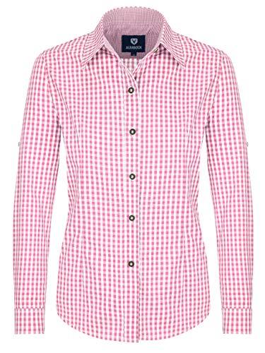 ALMBOCK Trachtenbluse Damen langarm - Karierte Bluse pink rosa kariert aus 100% Baumwolle - Festliche Blusen in Größe 34-46