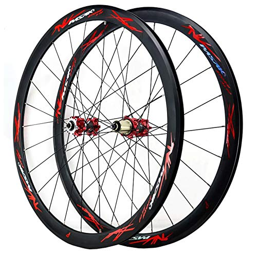ZNND 700C Road Bike Wheelset Cyclocross Road Disc Brake Wheel V/C Brake 40MM Double Wall 7-12 Speed (Color : Red, Size : Thru axle)