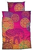 sister s. Renforcé-Bettwäsche Noida absolut hip Mandalas Ornamente Glücks-Elefant orientalische Farbenpracht,violett-türkis-orange, 135x200 cm
