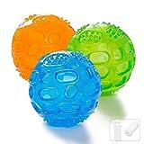 ACEONE Pelota Perro Impermeable Bola Inflable Goma Juguete de Goma, Squeaker Squeeze Pet Ball Juguetes, Interactiva para Perros Traning (3 Piezas)