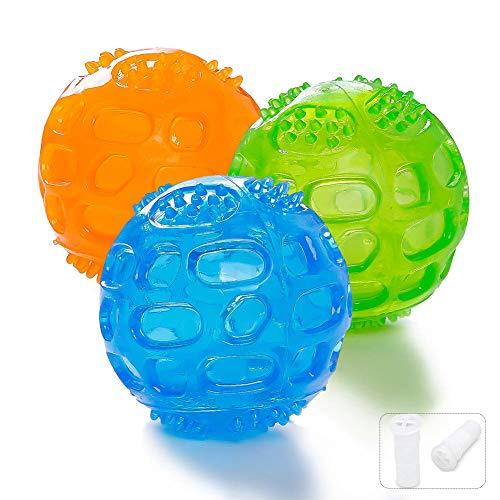 Hundespielzeug Quietschball Spielzeug, 3 Stücke Naturkautschuk Gummi Bälle Spielzeug für Große und Kleine Hunde