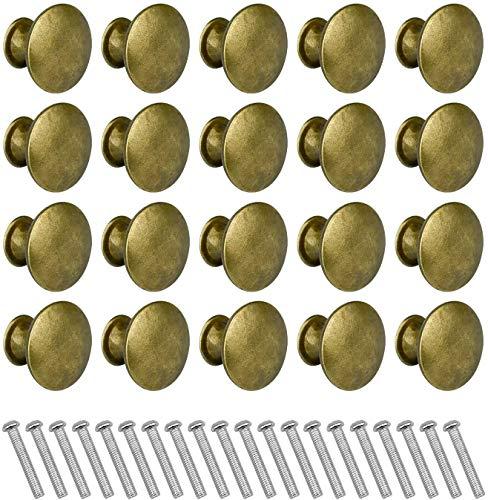 Pomelli per Mobili Vintage, 20 Pezzi Pomelli Bronzo Vintage Metallo Maniglie per Cassettiere, Cucina Armadio, Credenze