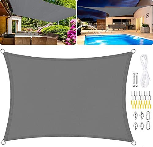 WYYL Sonnensegel Sonnenschutz Rechteckiges, 95% UV-Schutz aus Reißfestem Polyester Wasserdicht Winddicht, für Garten mit Seilen und Befestigungs Kit- Gray   5x6m(16.5x19.5ft)