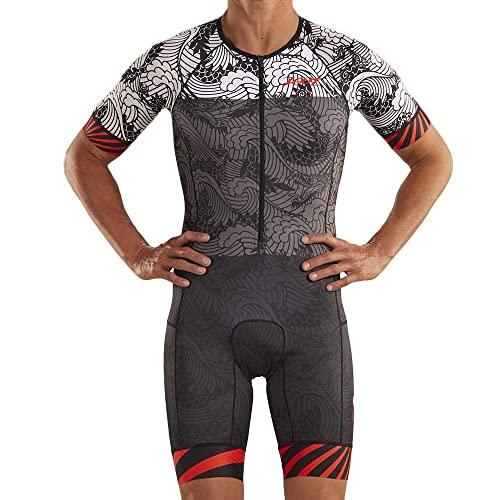 Zoot Men Triathlon Racesuit Style Tokyo 2019 avec Manches, éléments réfléchissants, SPF 50+, Deux Poches arrière et Une Fermeture éclair de 23 cm sur Le Devant Taille S