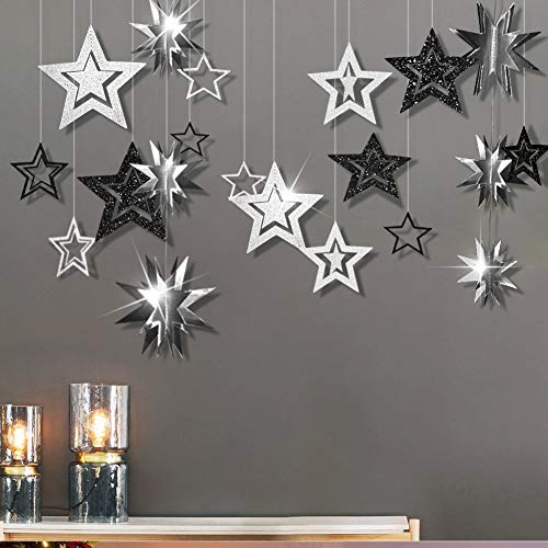 Cheerland Glitter Black Charcoal Gray Silver Star Garland Twinkle Little Star Party Decoration 3D Star Cutout Hanging Bunting Banner for Halloween Baby Shower Wedding Engagement