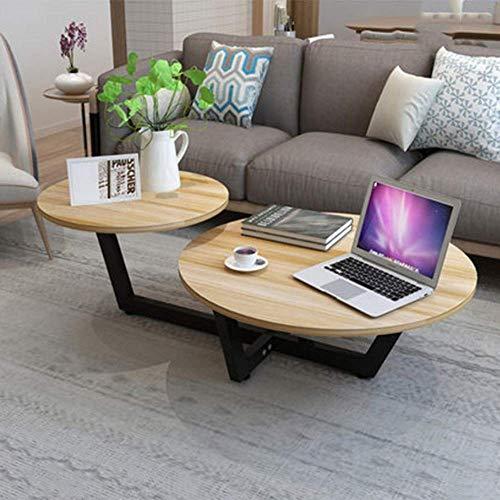 SDWCWH Haupttisch, Couchtisch, Einfacher Runder Tisch, Wohnzimmertisch, Praktischer Schreibtisch,Schwarze Beine + Teakholz