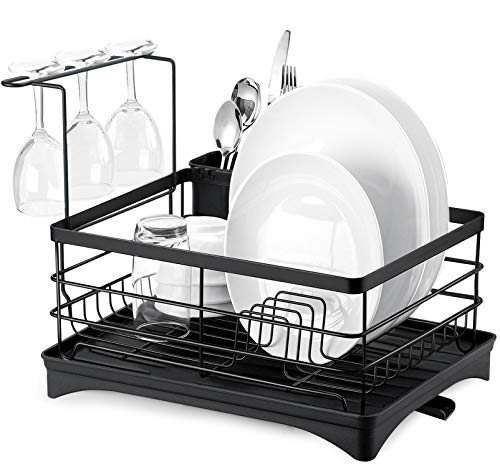 Dish Drying Rack, Oyeye Kitchen Dish Rack Dish Drainer with Utensil Holder, Drainboard with Adjustable Swivel Spout for Countertop (Black)