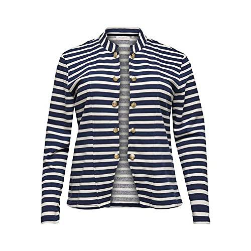 ONLY Carmakoma CARANETTE Life L/S Stripe Blazer, Azul Oscuro y Rayas: bailarín, M para Mujer