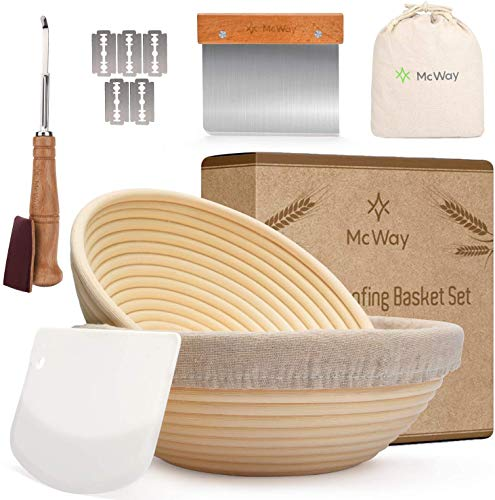 Banneton Proofing Basket Set of 2, 9' + 10' inches - Round Bread Proofing Baskets for Sourdough, Plastic Bowl Scraper Tool, Dough Scoring Blade - A Bread Making Kit for Any Bread Baker