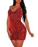 Women's Sexy Sequin Glitter Spagetti Straps Bandage Bodycon Mini Club Party Dress Red XL