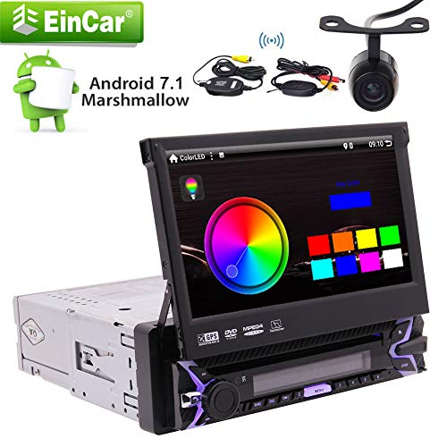 EinCar Android 7.1 Auto Build-in WiFi AM/FM Mirror Link Car Stereo Single Din with 7inch 1024600 Super high Definition Digital Screen and GPS Navigation with Wireless Backup Camera Support Steering