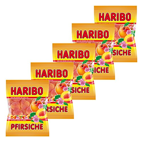 Haribo Pfirsiche, 5er Pack, Gummibärchen, Weingummi, Fruchtgummi, Im Beutel, Tüte