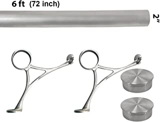 Top Hardware Bar Foot Rail Kit (Custom-Made Item) - Brushed Stainless Steel Tubing (2 in OD, 6 ft Length) - Combination Foot Rail Brackets - Flat End Caps