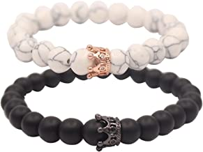 UEUC King&Queen Crown Distance Couple Bracelets His and Her Friendship 8mm Beads Bracelet