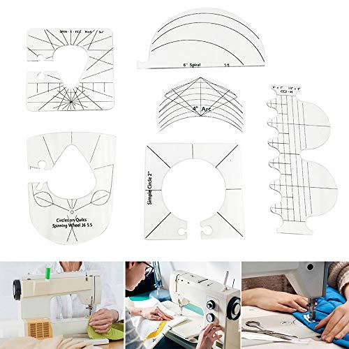 Juego de plantillas para máquina de coser de 6 piezas regla acrílica herramientas de costura de movimiento libre acolchado plantillas de agarre en relieve incluye lazo espiral almeja círculo