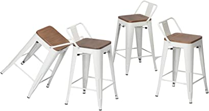 Changjie Furniture Industrial Metal Bar Stool with Backs Modern White Counter Bar Stools Set of 4­ (24 inch, Low Back White with Wooden Top)