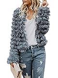 Lovaru Womens Coat Long Sleeve Open Front Parka Shaggy Faux Fur Coat Jacket Parka, Small, Grey