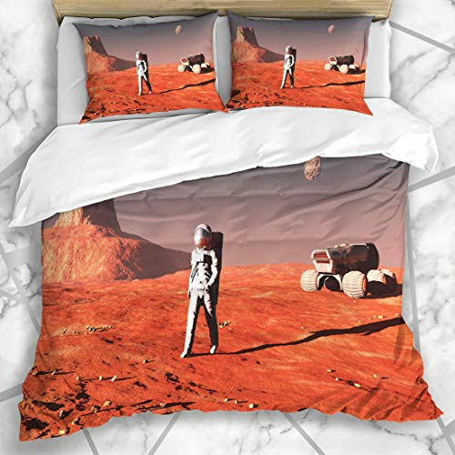 Soefipok Conjuntos de Funda nórdica Rocket Orange Planet Scene Astronaut On Mars Rocks Abstracto Rojo Misión Uno Espacio Cosmonauta Ropa de Microfibra con 2 Fundas de Almohada