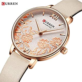 CURREN 9065 Ladies Stainless steel Casual Waterproof Small Dial Pattern Watch leather Band