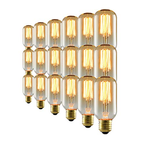 mirrea Vintage Edison Bulb 18 Pack T45 Squirrel Cage Filament Dimmable