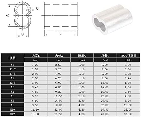 DUANWY Clamp M0.8 M1.0 M1.2 M1.5 M2 M3 M5 M6 M8 Aluminum casing Wire Rope Ferrule Cable Ties Crimp Stell Wire Rope Chuck Jacket Durable in use. Size : 1pcs M12