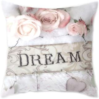 Hukai 45x45CM Mediterranean Nordic Style Peach Velvet Home Decorative Cushion Cover Colored Rose Flower 3D Digital Printing Throw Pillow Case,Add More Atmosphere to The Holiday Season