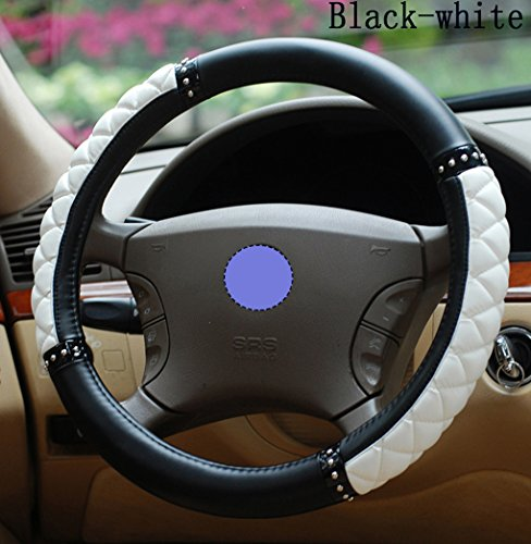 Car Interior Accessories Fashion Car Steering Wheel Cover Imitation Sheepskin Ms. Female Cute Handlebar Four Seasons General for All Car Steering Wheel The Outer Diameter Range 37-38cm (Black&White)