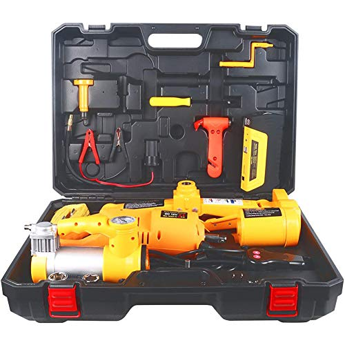 12 V 3T 4-in-1 Elektrische hydraulische vloer Set set met slagmoersleutel, Reifenfüllpumpe En noodstroom voor het wisselen van banden reserveonderdelen,Yellow