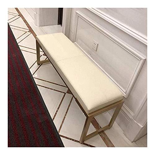 LXESWM Escabel Otomana Sofá Bench Bench Zapatos PU Banqueta De Cuero Otomana Hierro Forjado Sofá Cama Dormitorio Heces Entrada Fin De Heces (Color : White, Size : 60cm)