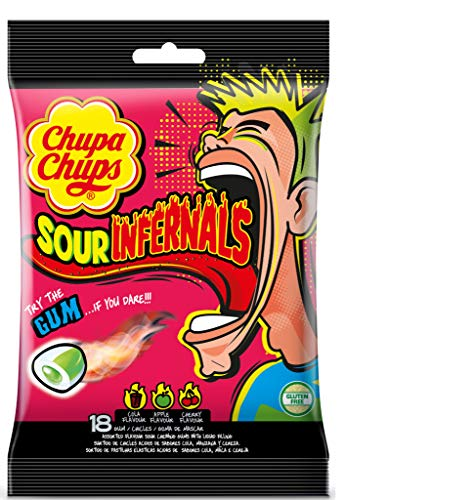 Chupa Chups Infernals Ácidos, Chicles de Sabores Variados, Bolsa de 18 unidades de 3,85 gr. (Total 69,3 gr.)