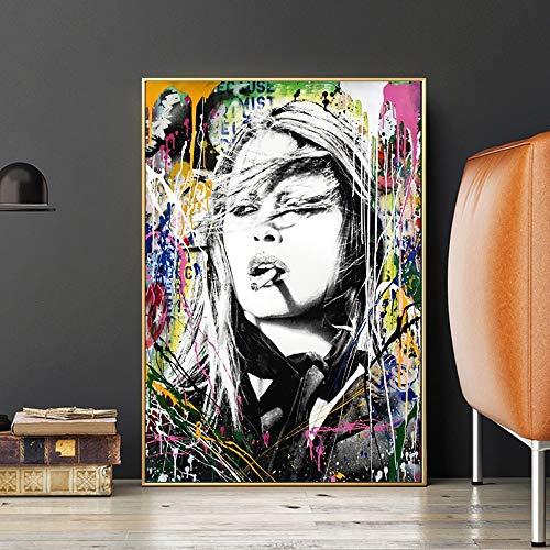 wZUN Graffiti de Arte Abstracto en Lienzo Pinturas e Impresiones artísticas de Pared Cuadros decoración del hogar Pintura Decorativa 50X75CM