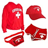 LIFEGUARD Officially Licensed Women Ladies Halloween Costume Bundle Pack (S) Red