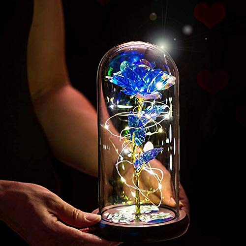 Galaxy Rose Flower Gifts,Artificial Flower Enchanted Rose with Light Women Gift in Glass Dome for Mother's Day,Anniversary,Birthday,Wedding,Room Decoration(Blue)
